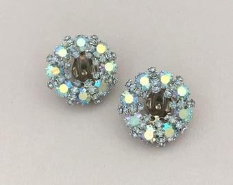 WEISS Rhinestone Earrings - Blue Rhinestone Clip On Earrings - Womens Earrings - Round Earrings - Vintage Rhinestone Jewelry Blue Earrings