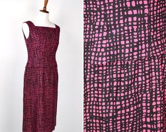 Vintage 60s Adele Simpson Pink and Black Mod Print Sheath Dress