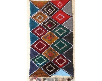 "240X130 cm 7'10"" x 4'3""    T28199  boucherouite , boucharouette,  moroccan rugs , berber rugs, morocco carpets"