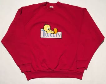 Vintage Tweety Bird Patch Crew Neck Sweatshirt