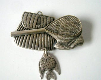Pewter Fishing Brooch, Vintage Pewter Fish and Basket Pin Brooch, Fashion Jewelry