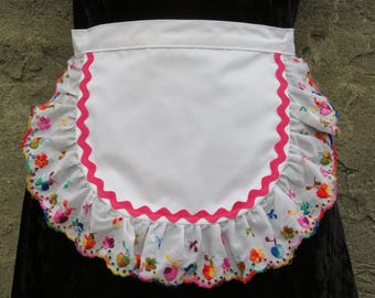 Cute Waist Apron Vintage Embroidered Eyelet Ruffle Pink Rickrack Trim Half Apron