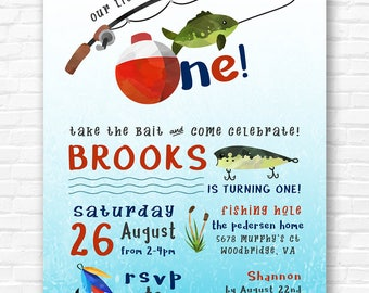 Watercolor Fishing Invitation