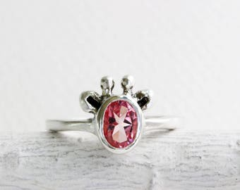 Pink Giraffe Ring, Light Pink Topaz and Sterling Silver, Giraffe Ring,Giraffe Fine Jewelry,MADE TO ORDER
