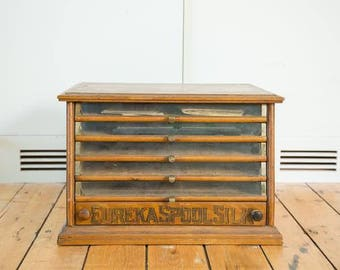 DISCOUNTED Antique Victorian Eureka Silk Spool Cabinet