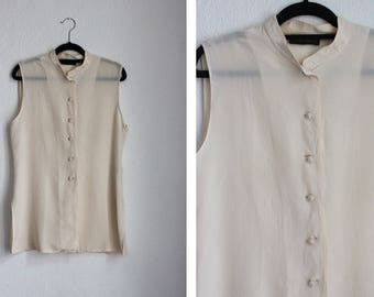 Vintage Cream Silk Chinese Style Sleeveless Blouse