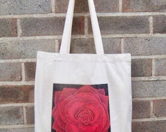 Rose tote shopping bag ethically produced handprinted with Red Rose painting, custom options, Unicef & Wateraid donation per item