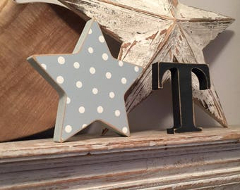 Wooden Letter & Star  - Star and Initial, Any letter, choice of colours, 15cm, 10cm, Set of 2 - a letter and a star! Nursery decor