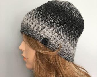 SALE Crochet Beanie - SILVER/CHARCOAL