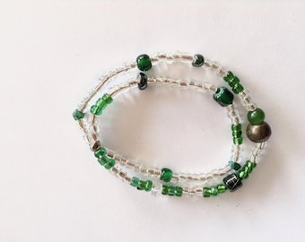 Recycled Green Glass, Moss Agate, Crystal, Brass and Glass Spacer Beads, Stretch Bracelet, under 15USD