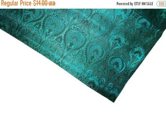 15% off on One yard of Indian brocade fabric in Teal blue and black regal brocade/costume fabric/fabric for home accents