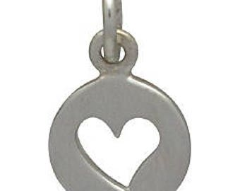 Cutout Heart Disc Charm -14mm, Sterling Silver