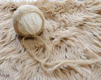 Faux fur, Faux fur set, Newborn photo prop, Fur rug, Basket stuffer, Beige Faux Fur Nest Photography Prop Rug Newborn