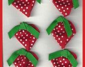 Grosgrain Ribbon Strawberries Red Green White  Set 6
