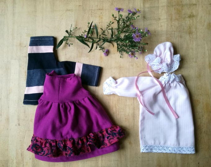 Girlish Autumn Outfit for little stuffed creatures, Girl's set, Sweater, Skirt, Nightgown and Nightcap for stuffed toys