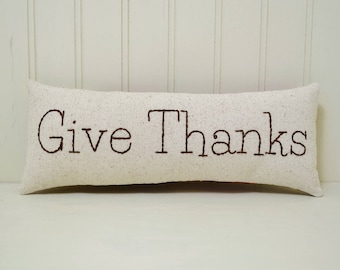 Give Thanks Decorative Pillow - Autumn Shelf Sitter - Thanksgiving Home Decor - Fall Floral Accent Pillow - Brown Orange - Hand Embroidery