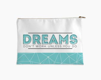 inspirational quote pouch | makeup bag | pencil case | small accessory pouch | inspirational gift | encouragement quote gift | green bag