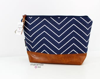 AVA Clutch -Large - Navy Skinny Chevron PU Leather READY to SHIp Cosmetic  Diaper bag Travel Make Up Zipper Pouch