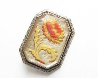 Intaglio Yellow Orange Flower Rock Crystal Brooch 1930s MOP Chrysanthemum