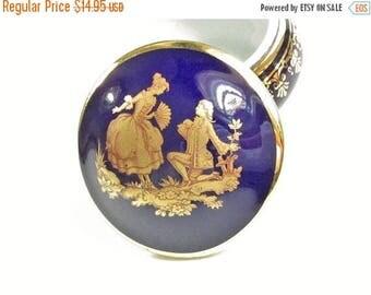 ON SALE Vintage Limoges Porcelain Trinket Box Cobalt Blue Patch Box