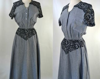 1980s Gray Chambray, Black Lace Dress by Wildfire, Day Dress