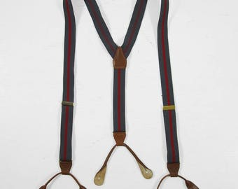 Vintage Thin Grey Braces Button Suspenders Red Striped Elastic Leather Tabs