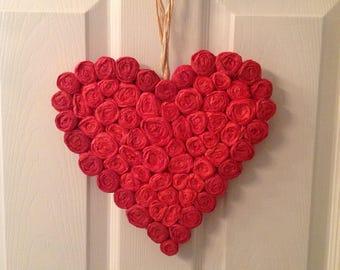 Door wreath red roses heart