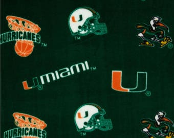 Personalized University of  Miami Hurricanes Fleece and Minky Baby Blanket.  Most teams available... Convo me for yours.