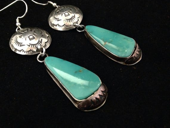 Handmade Earrings, OOAK Southwestern, Boho, Cowgirl, Blue Kingman Turquoise, Concho, Dangle Earrings