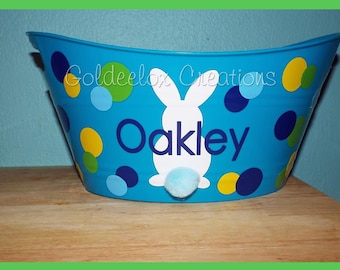 Easter Buckets- Personalized Easter Bucket- Personalized Easter Basket- Easter Bunny Baskets
