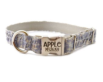 Personalized Dog Collar, lilac ruffle print