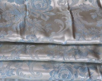 Satin Brocade Curtains, Silvery Blue, Three Panels, 1940s