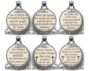 Pendant Necklace, Proverbs 31, Woman Of God, Religious, Christian, Bible Verse, Scripture, Inspirational,  Dignity & Strength, Jewelry, Gift