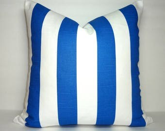 NEW OUTDOOR Cobalt Blue Pillow Cover Royal Blue & White Stripe Anchor Nautical Pillow Covers All Sizes