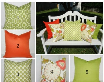 FALL Is COMING SALE Outdoor Porch Pillows Orange Green Floral Design  Coordinating Outdoor Pillow Covers Choose