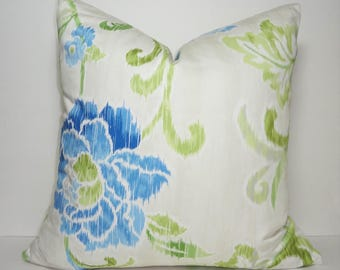 Waverly Cobalt Green Wasabi Ikat Floral Design Home Decor by HomeLiving Pillow Cover Size 18x18