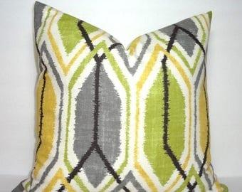 SPRING FORWARD SALE Decorative Throw Pillow Cover Richoom Sketch Lemongrass Geometric Green Grey Yellow Pillow Cover 18x18