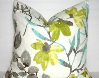 SPRING FORWARD SALE Braemore Gazebo Cloud Citrine Blue Aqua Grey Floral Vine Pillow Cover Home Decor by HomeLiving Size 18x18