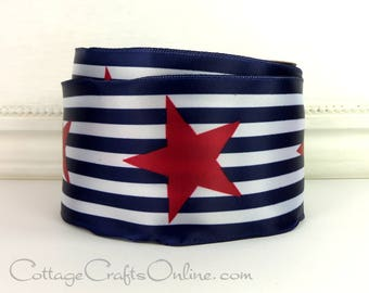 "Wired Ribbon, 2 1/2""  Red Stars, Navy Blue and White Stripes, THREE YARDS, Offray ""Star Stripe"" 4th of July, Patriotic Wire Edged Ribbon"