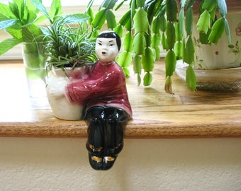 Made in Japan Shelf Sitter, Ceramic Planter or Vase, Japanese Boy, 1950's Porcelain, Hand Painted, Asian Figurine, Gift Idea, Excellent