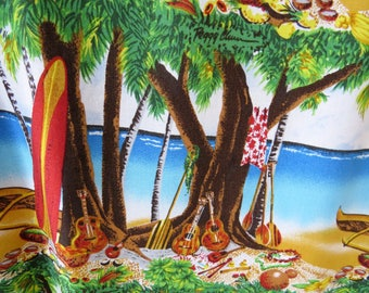 Hawaiian Aloha Shirt by Reyn Spooner - Size Large - Ukuleles Surfboards Outrigger Canoes Coconuts - Tropical Vacation Cruise Tiki Party Gift