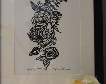 Florally Yours Linoleum Print
