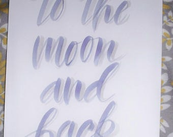 To the moon and back nursery art