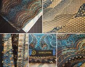 READY to SHIP-Fancy OG Paisley Bandana-Teal/Gold/Blue-Snapback Bandana-Metallic Gold Sacred Geometry