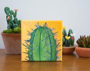 Gardening Gift, Cactus Art, Cactus Original Oil Painting, 6x6 painting, Cactus Painting, Gifts Under 50, Desert Art, Cactus Decor