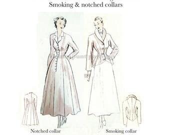 1949 coat/jacket kimono sleeve sewing PDF pattern with notched and smoking collar.