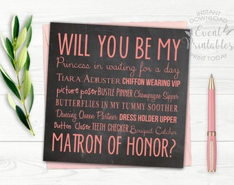Will You Be My Matron of Honor Card, Printable File, Pink Chalkboard Matron of Honour Proposal, DIGITAL DOWNLOAD by Event Printables