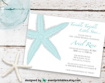 Starfish Baby Shower Invitation. Starfish Invitation. Beach Baby Shower. Twinkle Little Star. Printable Invitation by Event Printables