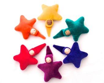 Small Star Doll // waldorf doll // soft doll // pocket doll // waldorf toy // cloth doll // multicultural doll // textile doll // small doll