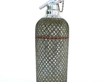 Vintage Sparklet Seltzer Bottle Siphon - European - Art Deco - Vintage Barware - Metal and Glass